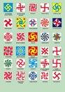 Свастичный символ представляет собой вращающийся крест с загнутыми концами, ...