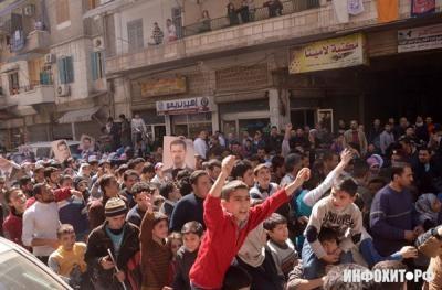 Массовый марш в поддержку сирийской армии